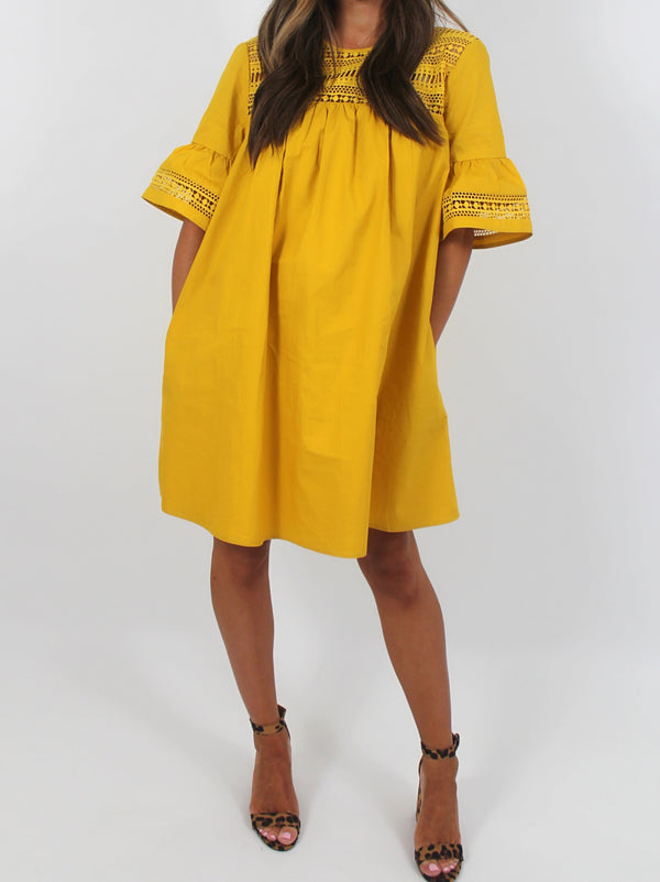 Claire Shift Dress | Mustard