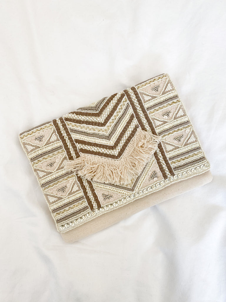 Ayala Fringed Mini Clutch