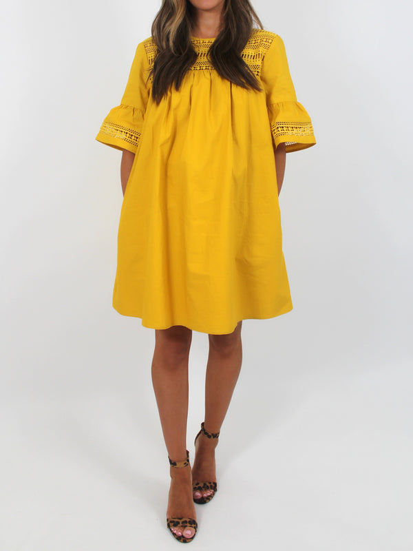 Claire Shift Dress | Mustard | FINAL SALE