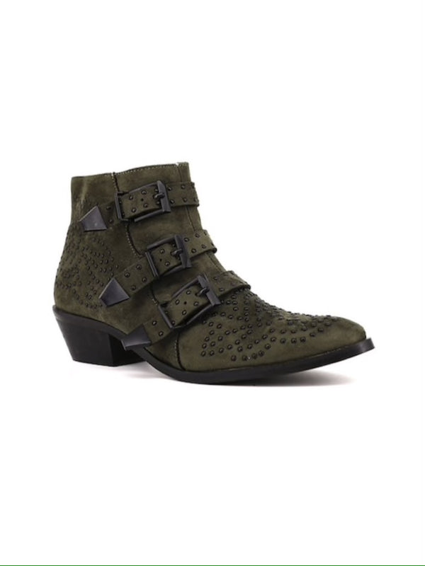 The Khloe Studded Bootie | Olive