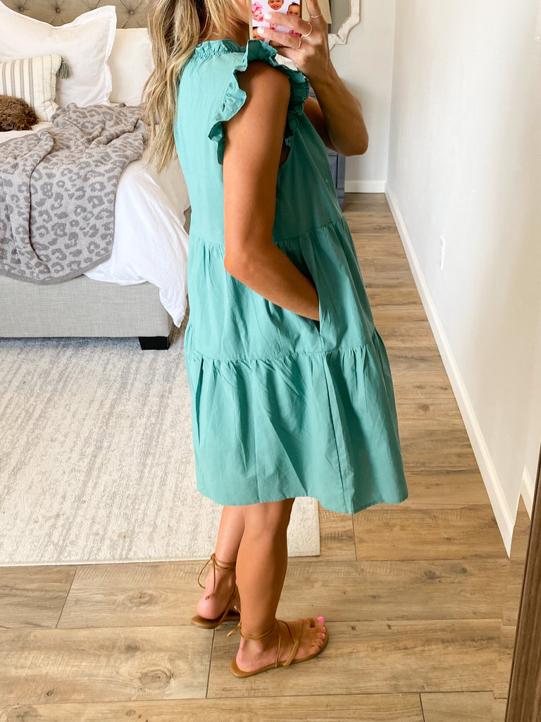 In The Moment Ruffle Dress | Jade | RESTOCK