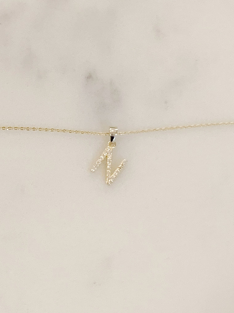 Gold + Crystal Letter Necklace