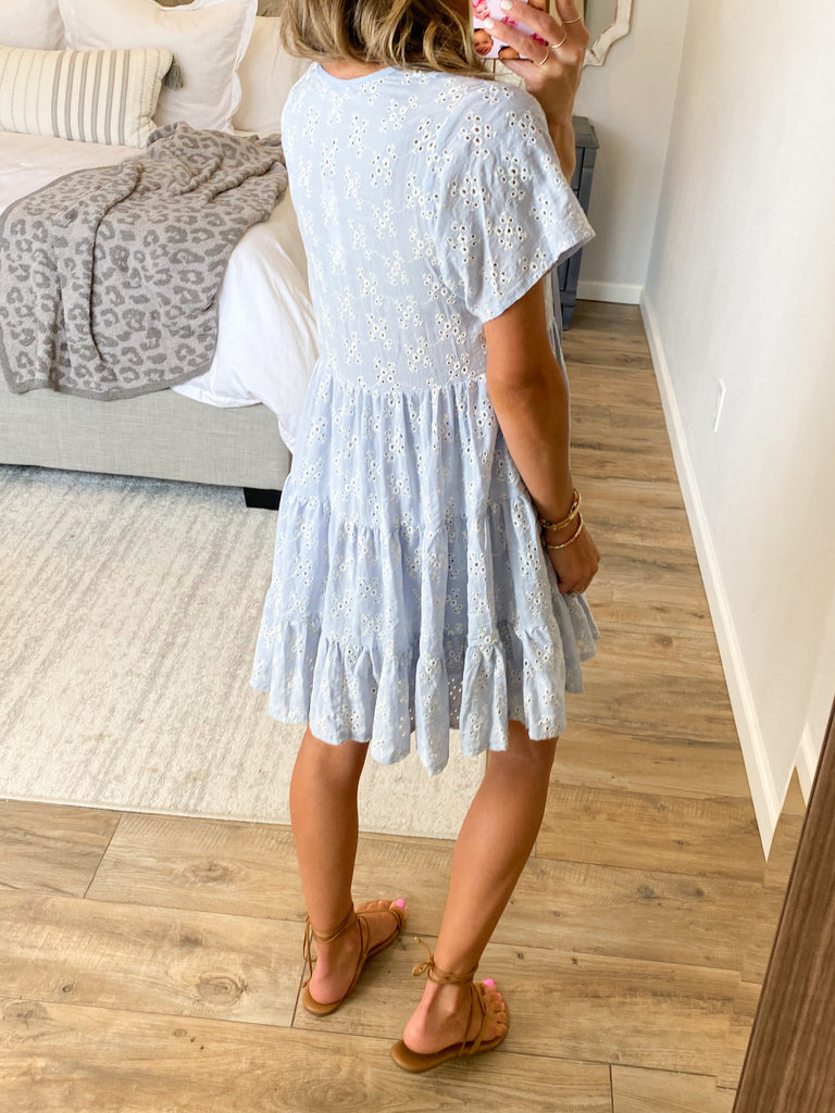 Sandstone Eyelet Dress | Dusty Blue