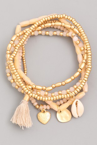 Beaded Tassel Stack | Nude