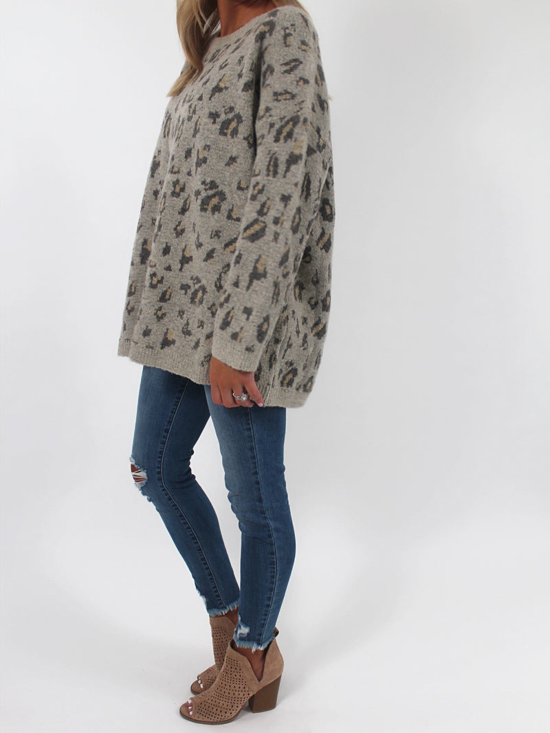 Oatmeal Leopard Sweater (1X-3X)