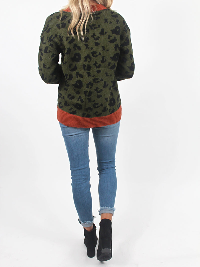 Olive You Leopard Sweater