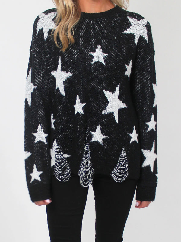 Distressed Star Sweater | BLACK