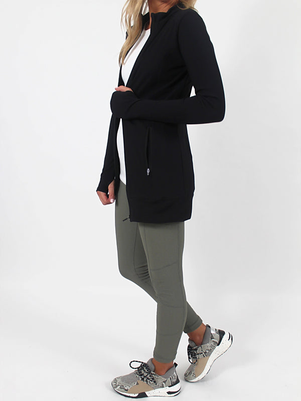 Refine Ribbed Jacket | Black