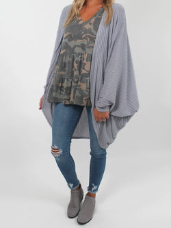 Ribbed Dolman Sleeve Cardigan | Grey
