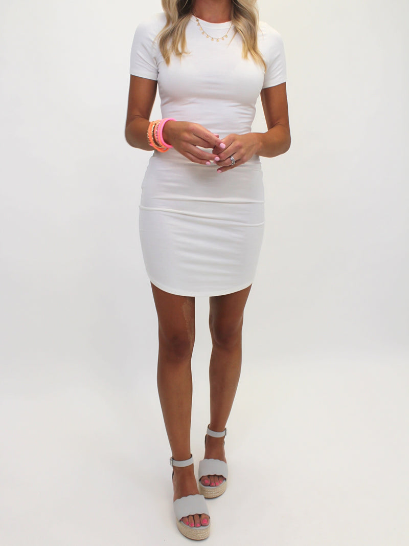 Crew Slim Tee Dress | Ivory | FINAL SALE