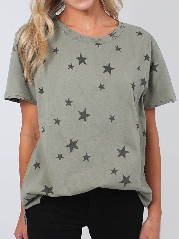 Stars In Your Eye Tee | Olive