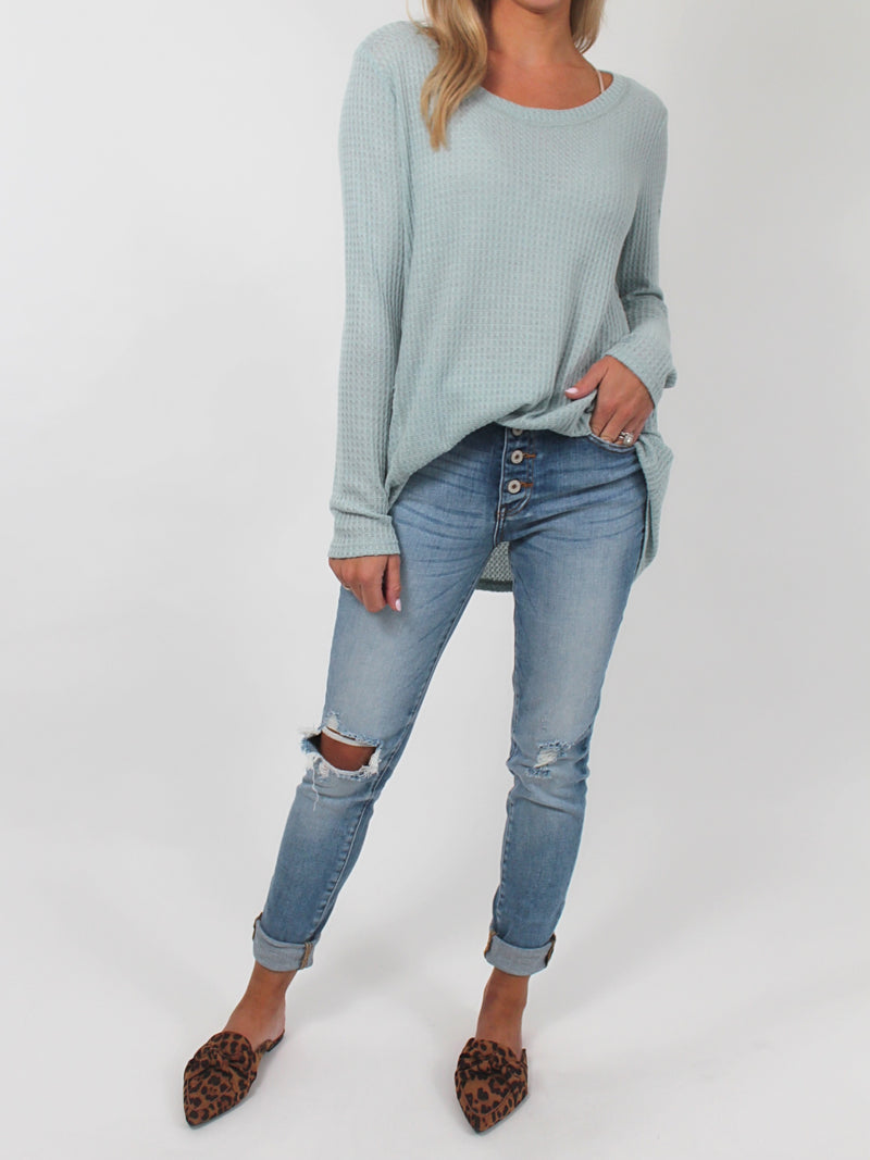 Cozy Up Thermal Top | Seafoam