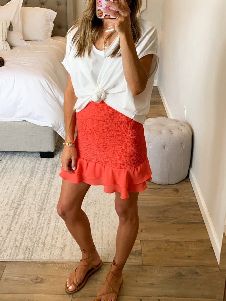 The Way You Move Smocked Skirt | Coral | FINAL SALE