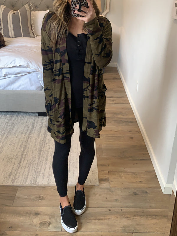 Takeover Camo Cardigan (Extended Sizes)