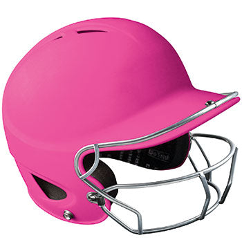 RUBBERIZED MATTE FINISH PERFORMANCE BATTING HELMET W/FACEMASK