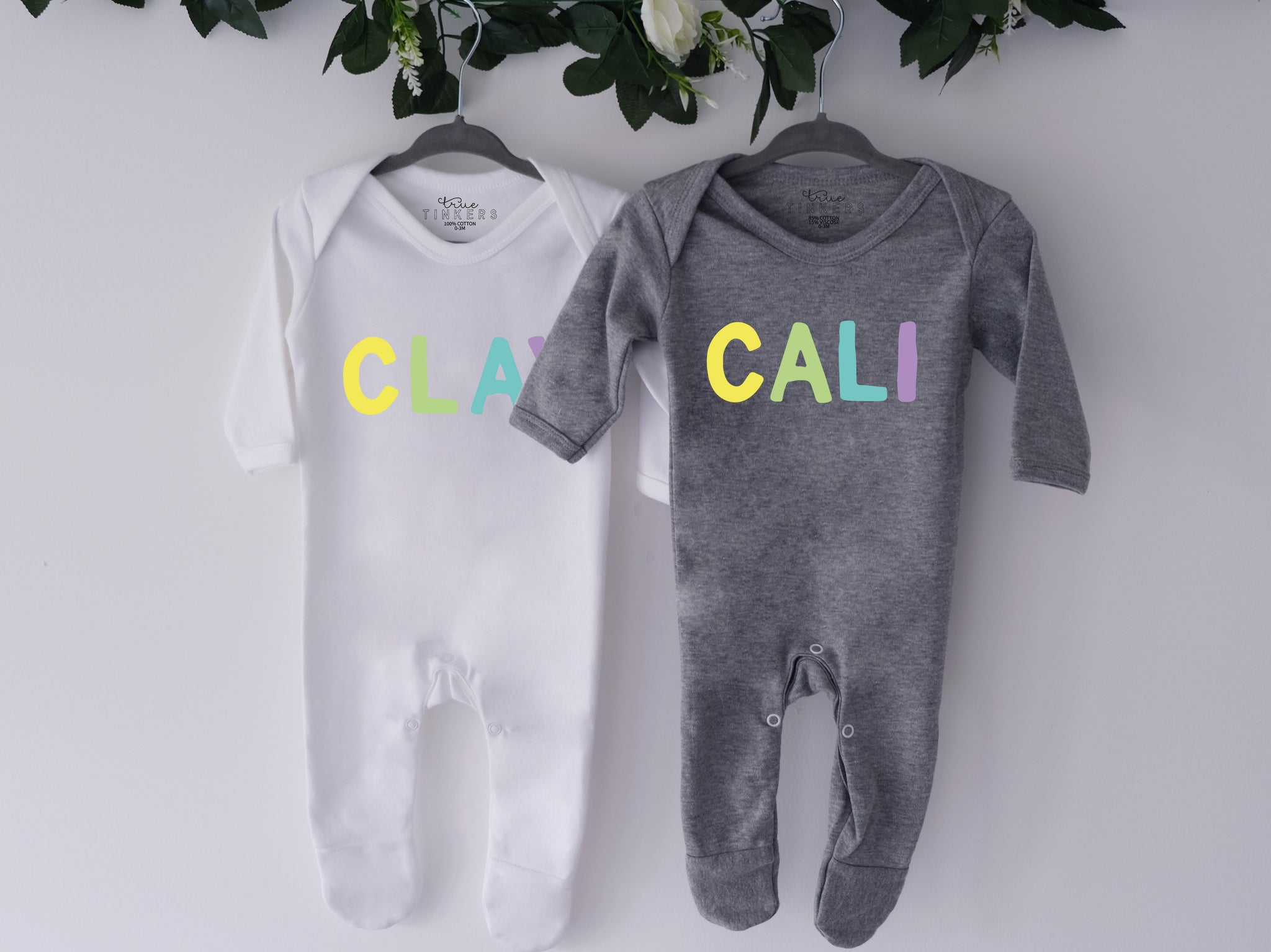 Rainbow Name Sleepsuit