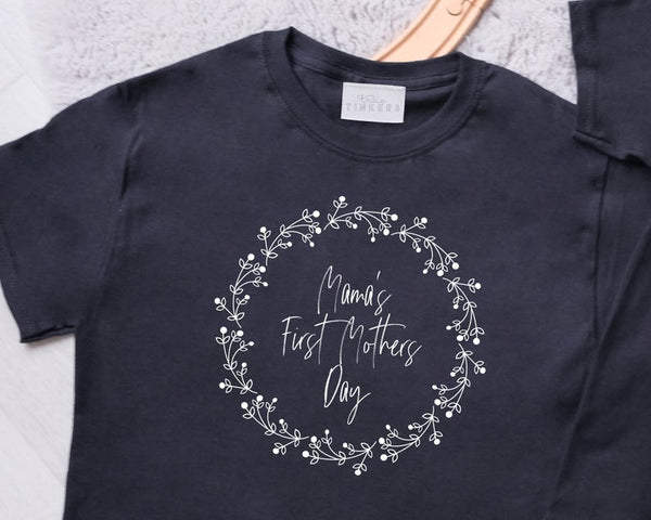 Adults First Mothers Day Wreath TShirt