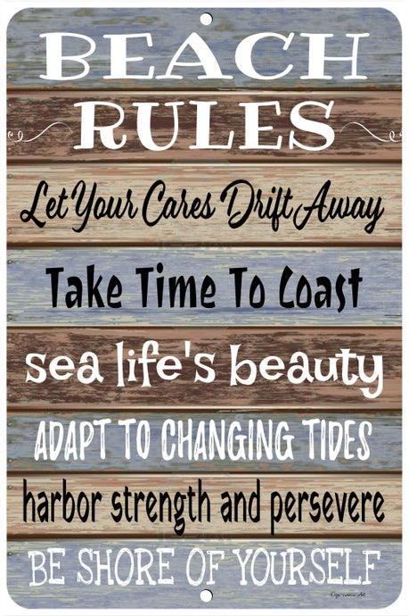 Dyenamic Art Beach Rules Metal Sign - Lightweight Quote Sign for Indoor/Outdoor - Decorative Funny Sign with Glossy Finish - Pre-Drilled Holes for Easy Mounting - Made in USA