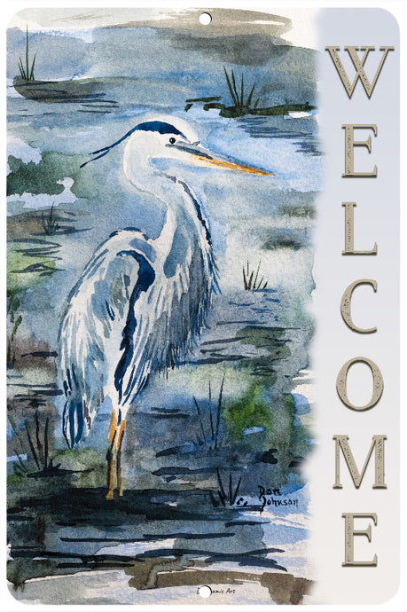 Dyenamic Art - Welcome Metal Sign - Lightweight Blue Heron Sign for Indoor/Outdoor Home Decor - Beach Decor Sign with Glossy Finish - Pre-Drilled Holes for Easy Mounting - Made in USA