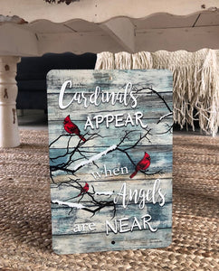 Dyenamic Art - Cardinals Appear When Angels are Near Metal Sign - Lightweight Snow Scene - Indoor/Outdoor - Decor Sign with Glossy Finish - Pre-Drilled Holes for Mounting - Made in USA