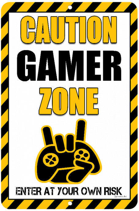 Dyenamic Art Caution Gamer Zone Stylish Metal Game Sign Man Cave Easy Mounting Made in USA