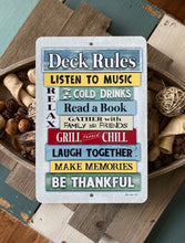 Load image into Gallery viewer, Dyenamic Art Deck Rules Sign - Colourful Backyard Decor - Patio and Pool Decor - Indoor/Outdoor Funny Pool Metal Sign - Metal Custom Signs - Made in The USA