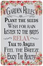 Load image into Gallery viewer, Dyenamic Art Garden Rules Sign Garden Decor Indoor/Outdoor Aluminum Sign Home Decor Sign Metal Gardening Sign Easy Hanging Made in USA