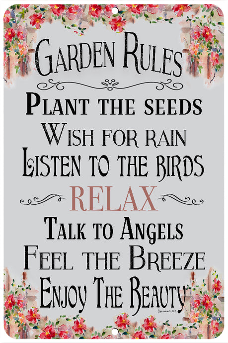 Dye-namic Art Garden Rules Sign Garden Decor 8x12 Indoor/Outdoor Aluminum Sign Home Decor Sign Metal Gardening Sign Easy Hanging Made In USA
