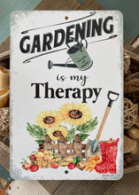 Load image into Gallery viewer, Dyenamic Art Gardening is My Therapy Metal Sign - Lightweight Garden Sign for Indoor/Outdoor - Sunflower Decor Sign with Glossy Finish - Pre-Drilled Holes for Easy Mounting - 8x12 Sign - Made in USA