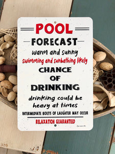 Dyenamic Art Pool Forecast Swimming Pool Metal Sign Red White Indoor/Outdoor Aluminum Easy Mounting Made in USA