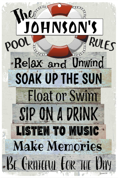 Dyenamic Art Personalized Pool Rules Metal Sign - Lightweight Aluminum Sign With Glossy Finish - Pre-Drilled Holes For Easy Mounting - Personalized Sign For Indoor & Outdoor - Made In USA