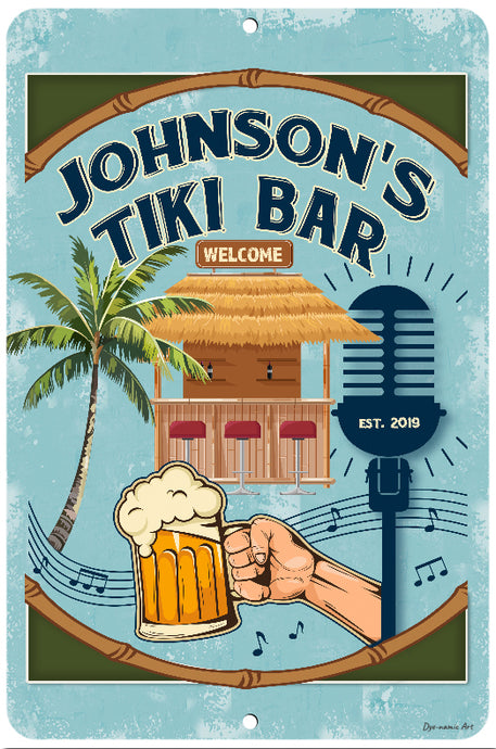 Dyenamic Art Personalized Tiki Bar Sign For Pool & Bar - Lightweight Aluminum With Glossy Finish - Pre-Drilled Hole For Easy Mounting - Decorative Sign For Indoor & Outdoor - Made In USA