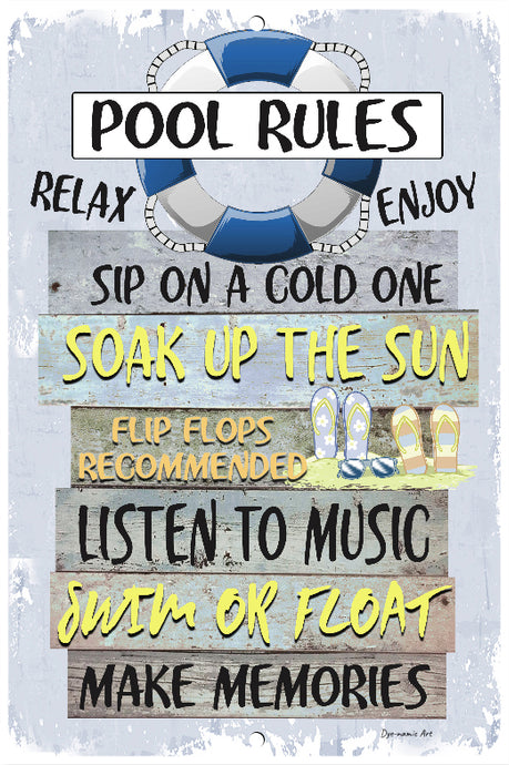 Dyenamic Art Pool Rules Metal Sign Swimming Pool Sign Blue Indoor/Outdoor Beach Decor Aluminum Sign