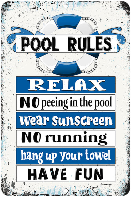 Dyenamic Art Pool Rules No Peeing in The Pool Swimming Pool Sign Backyard Decor Made in The USA