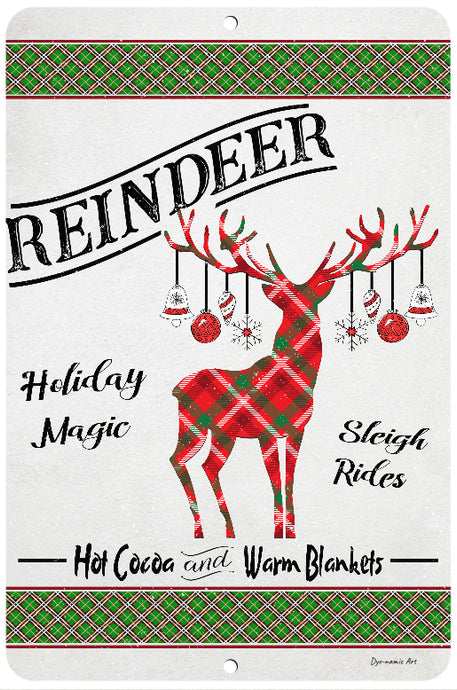 Dyenamic Art Reindeer Sign- Christmas Sign Decor - Aluminum Decorative Reindeer Decor -Holiday Magic Reindeer Rides Sign - Winter Holiday Decor