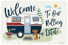 Load image into Gallery viewer, Dyenamic Art Vintage Camping Sign - Welcome to Our Rolling Estate Camper Plaque - Aluminum Metal Camp Sign - Camping Decor - an Ideal Gift for Camper - Outdoor House Decor - Camping Signs