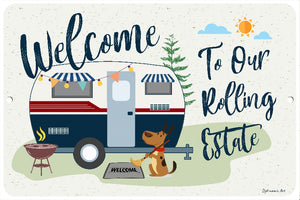 Dyenamic Art Vintage Camping Sign - Welcome to Our Rolling Estate Camper Plaque - Aluminum Metal Camp Sign - Camping Decor - an Ideal Gift for Camper - Outdoor House Decor - Camping Signs