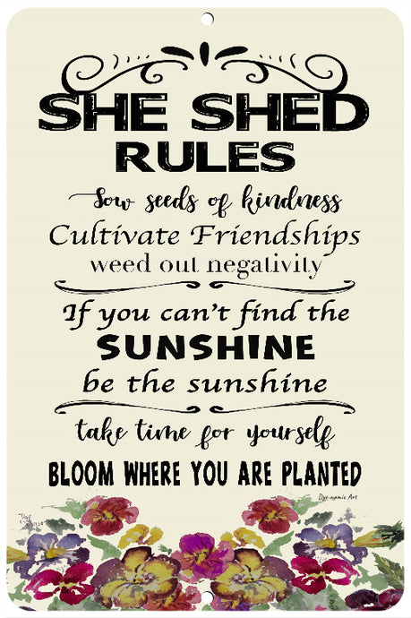 Dyenamic Art She Shed Rules Inspirational Sign - Metal Sign with A Positive Message - Lightweight Aluminum Sign - Gardening Rules Metal Sign - Garden Or Indoor Decor Signs - Unique Gift