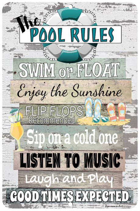 Dyenamic Art Pool Rules Metal Sign  Indoor/Outdoor Pool Decor Aluminum Swimming Float Teal Sign