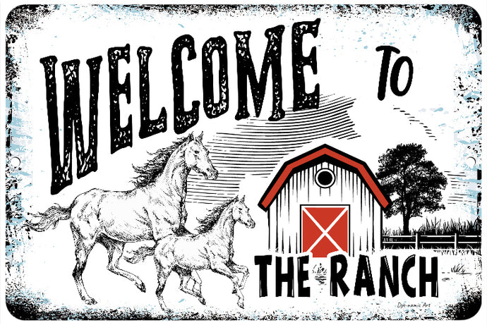 Dyenamic Art Welcome to Our Ranch 8x12 Home Decor Aluminum Sign Porch Sign Farmhouse Metal Wall Decor