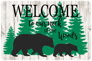 Dyenamic Art Welcome to Our Neck of The Woods Welcome Metal Sign Indoor/Outdoor Bear Sign Aluminum Sign Cabin Decor Easy Hanging Made in USA