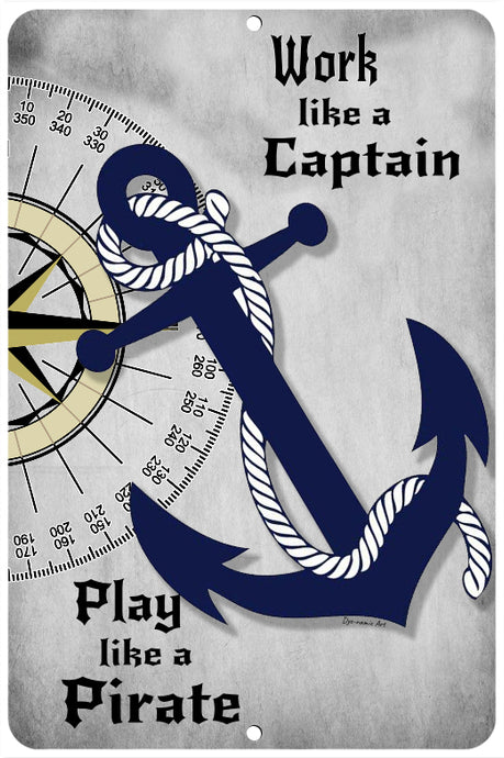 Dyenamic Art Metal Nautical Sign - Work Like A Captain Pirate Decor Sign - Unique Pirate Beach Decor Sign - Perfect Man Cave Gift - Lightweight Aluminum Outdoor Beach Sign - Easy to Hang