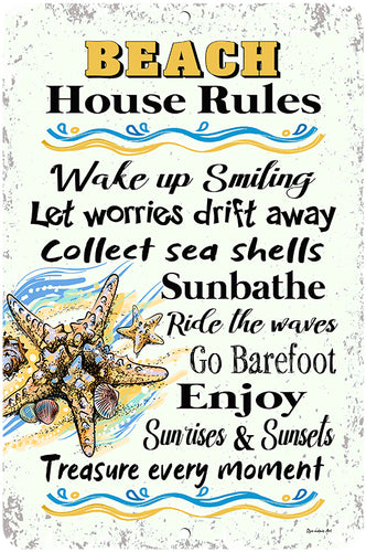 Dyenamic Art Beach House Rules Metal Wall Hanging Sign Home Décor Ocean Life Easy Hanging Made in USA