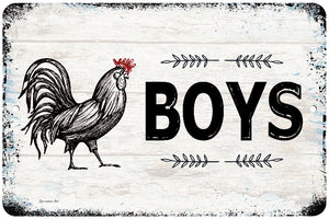 Dyenamic Art Metal Bath Sign Wall Decor Boys Bathroom Rooster Sign Home Decor Kids Restroom Aluminum Sign Weather & UV Resistant Easy Mounting Made in USA