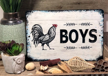 Load image into Gallery viewer, Dyenamic Art Metal Bath Sign Wall Decor Boys Bathroom Rooster Sign Home Decor Kids Restroom Aluminum Sign Weather & UV Resistant Easy Mounting Made in USA