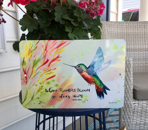 Dyenamic Art Bloom Where You are Planted Hummingbird Metal Sign - Lightweight Aluminum Decor - Indoor/Outdoor Metal Sign - Wall Art Decor Signs - Made in The USA