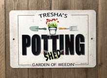 Load image into Gallery viewer, Dyenamic Art Welcome to The Potting Shed Sign Garden Metal Sign She Shed Indoor/Outdoor Farmhouse Sign Home Decor Made in USA