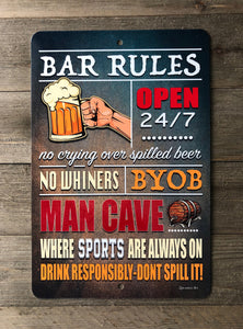 Dyenamic Art Bar Rules Metal Sign Backyard Bar Sign Man Cave Sign Home Décor Easy Mounting Made in USA