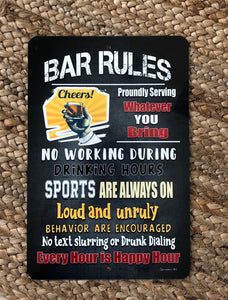 Dyenamic Art Bar Rules Cheers Metal Sign Backyard Bar Pool Sign Home Décor Bar Sign Man Cave Sign