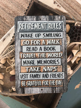 Load image into Gallery viewer, Dyenamic Art Retirement Rules Metal Sign Retirement Gift  Indoor/Outdoor Home Decor Aluminum Sign Easy Hanging Made in USA